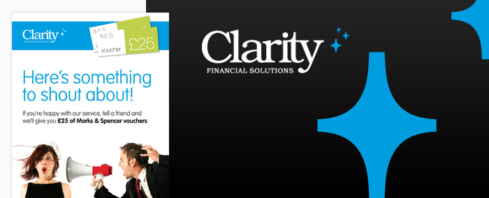Clarity Finance logo and leaflet design