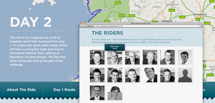 The whosebrightideawasthis.com map and riders