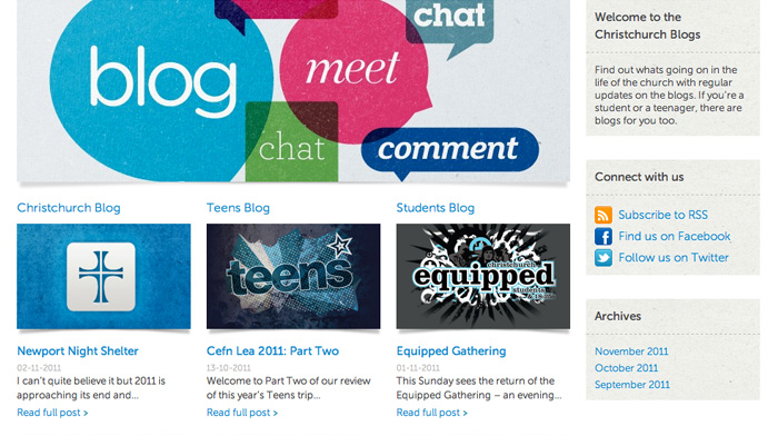 The new blog was separated into 3 separate areas, all featuring a custom design