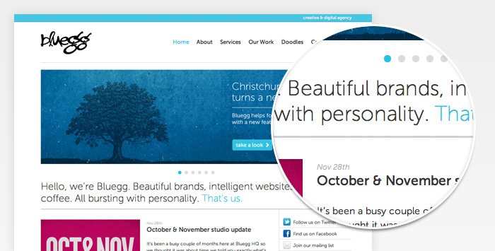 Typographic improvements to the Bluegg site