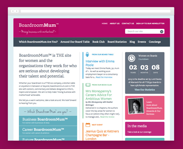 New BoardroomMum homepage