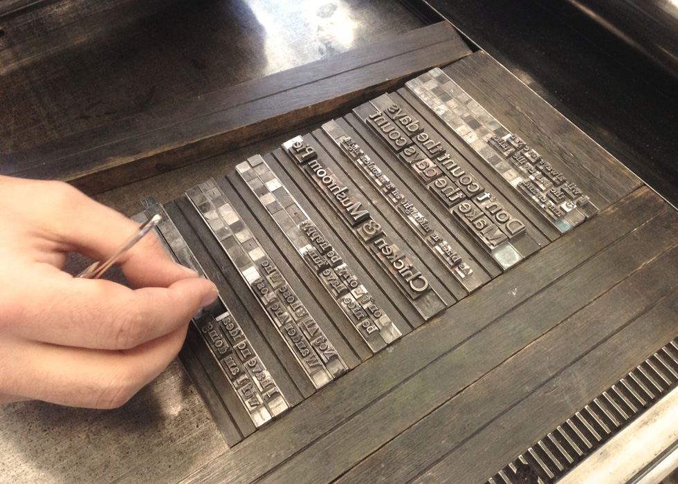 Moving our type over to the press