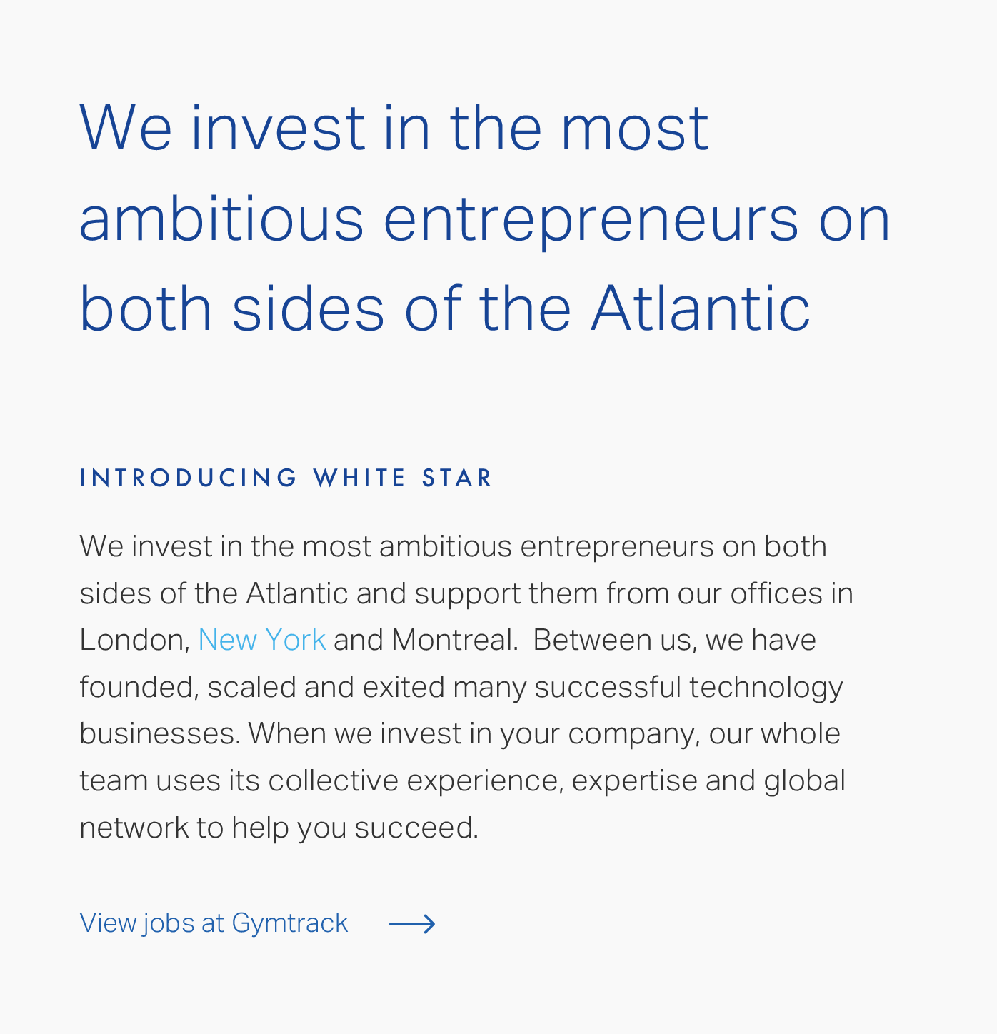 Website design for White Star Capital | Bluegg