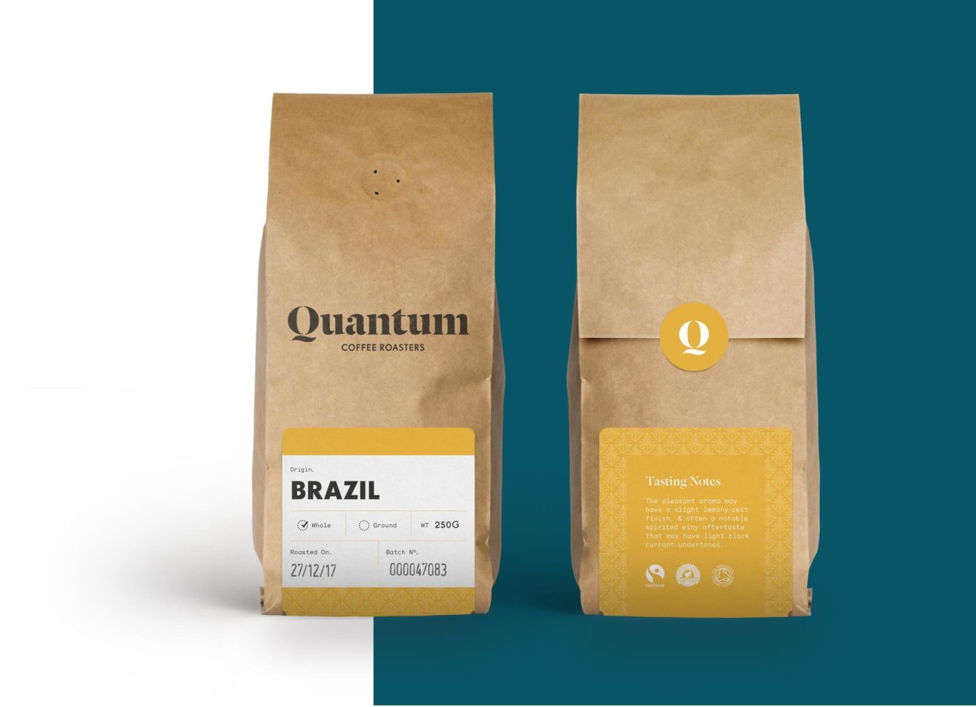 Example of new Quantum coffee roasters packaging