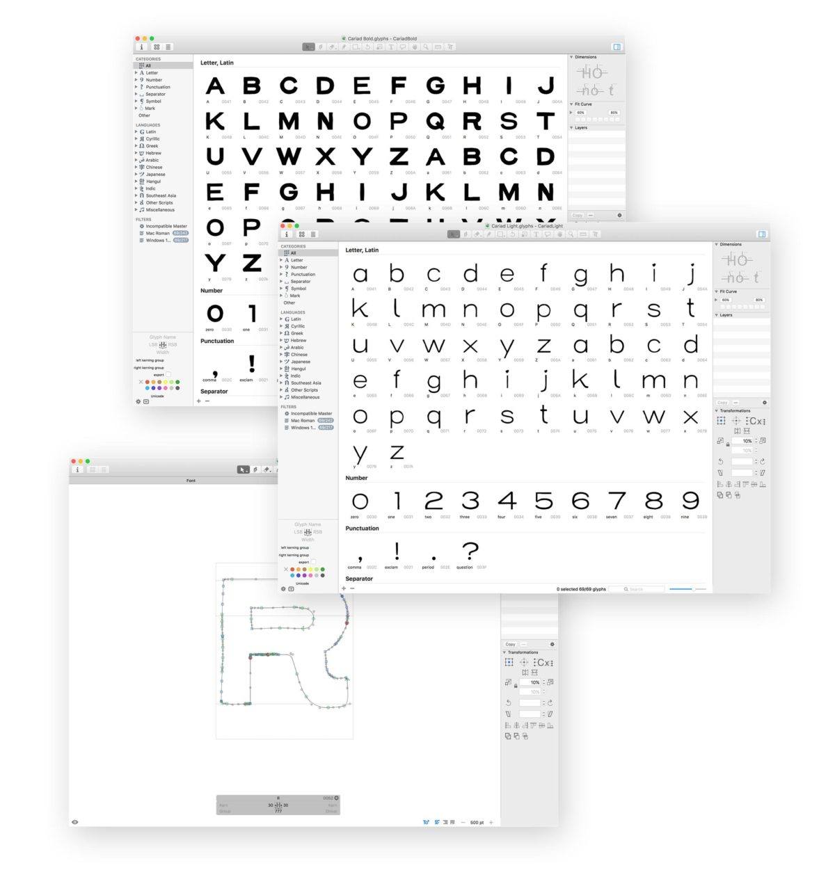 Using Glyphs app to create the font