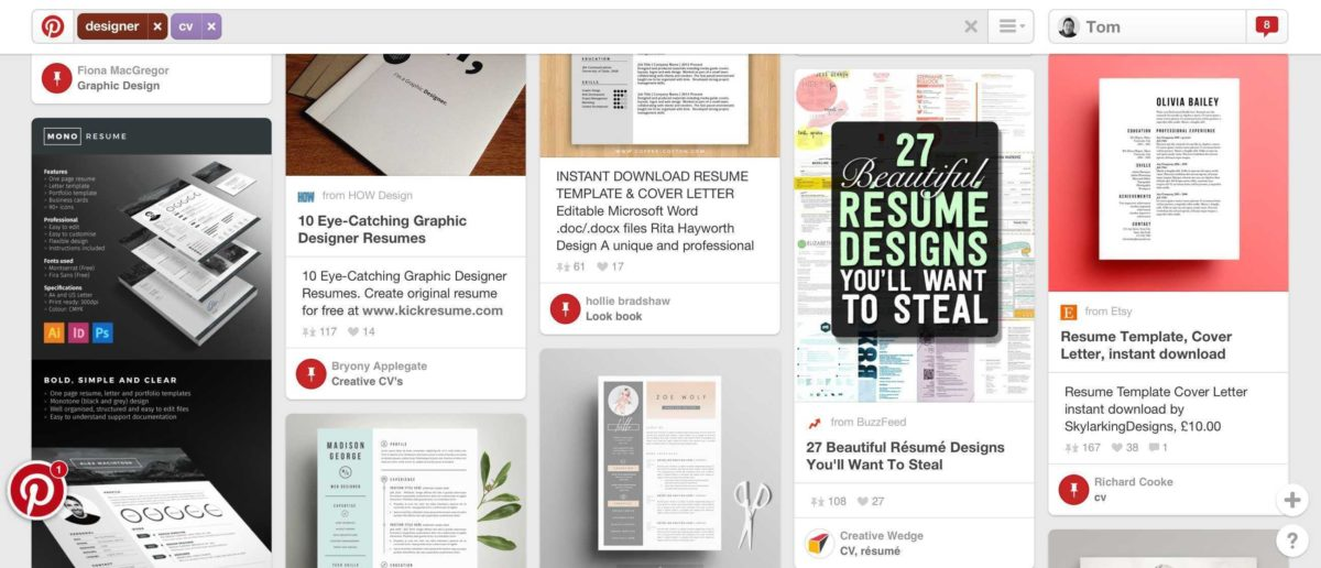 Examples of infographic CVs on Pinterest