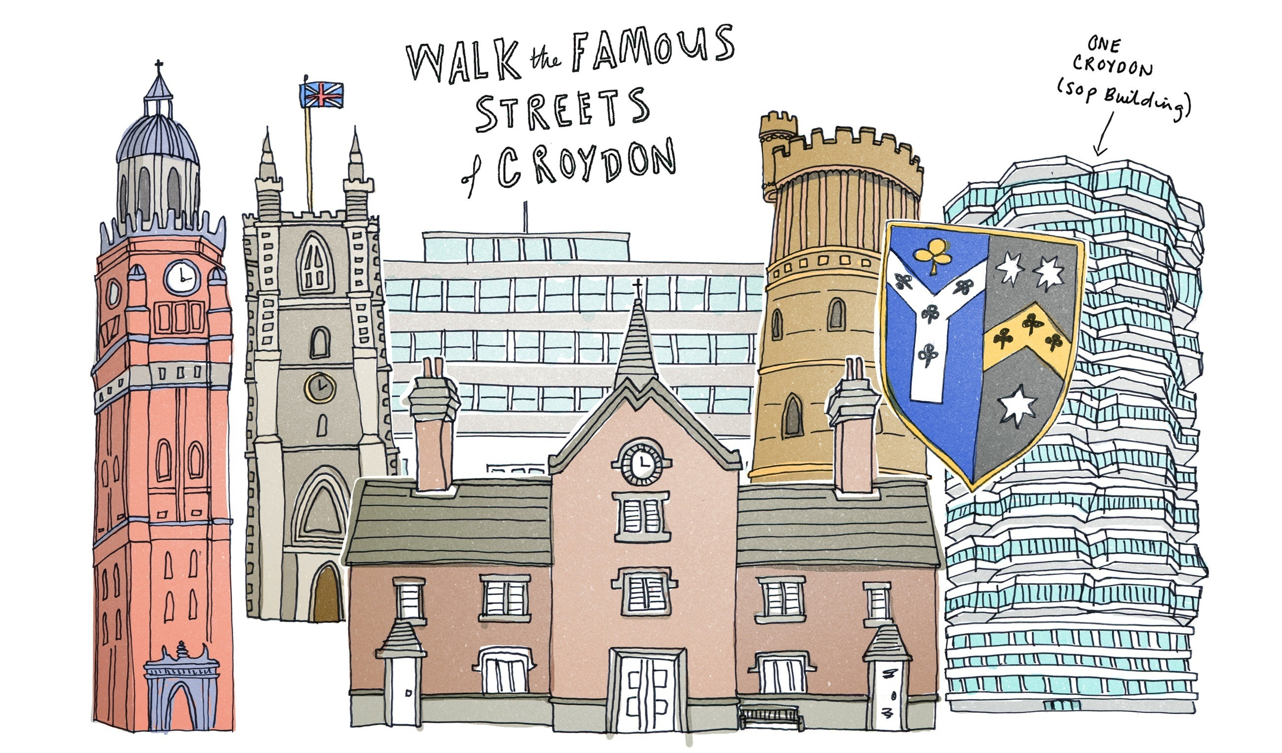 Famous buildings in Croydon illustration