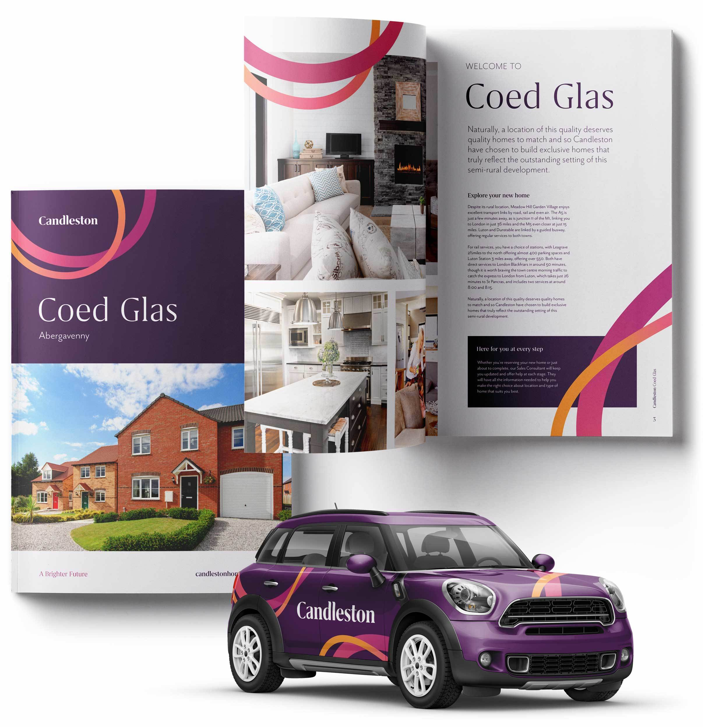 Candleston brochure design and vehicle wrap