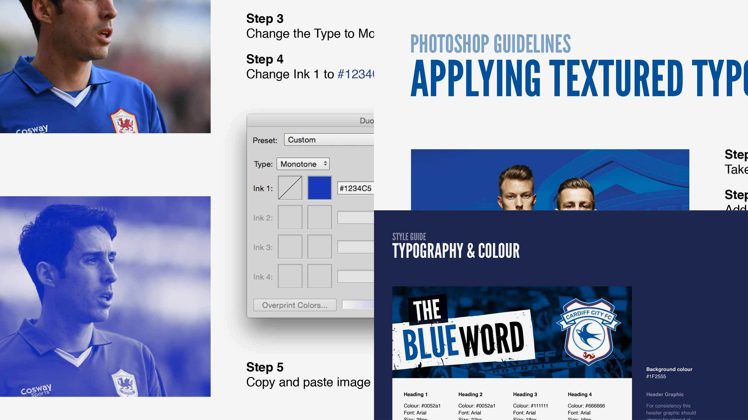 Images of the style guide for The Blue Word email