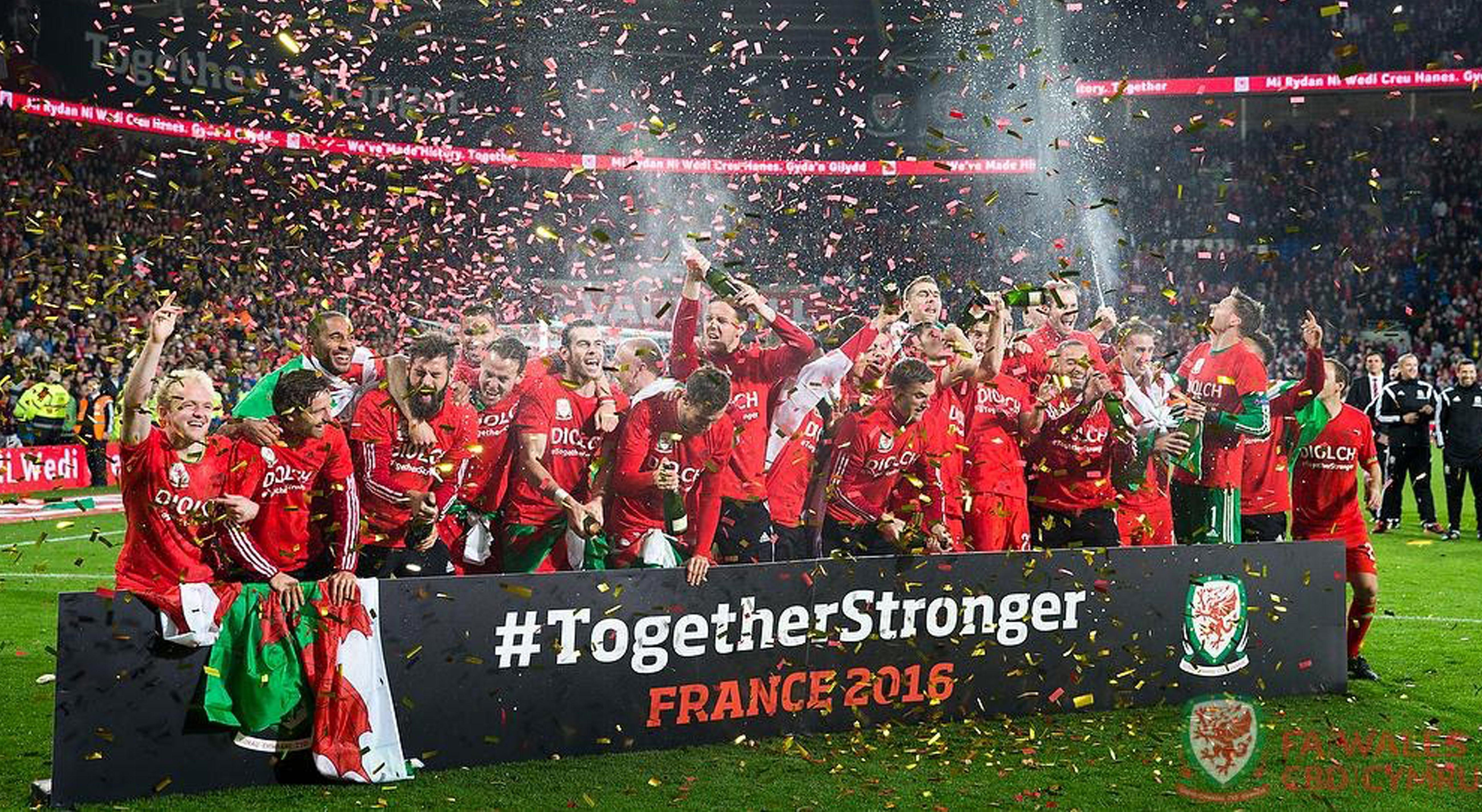 Welsh football players celebrating