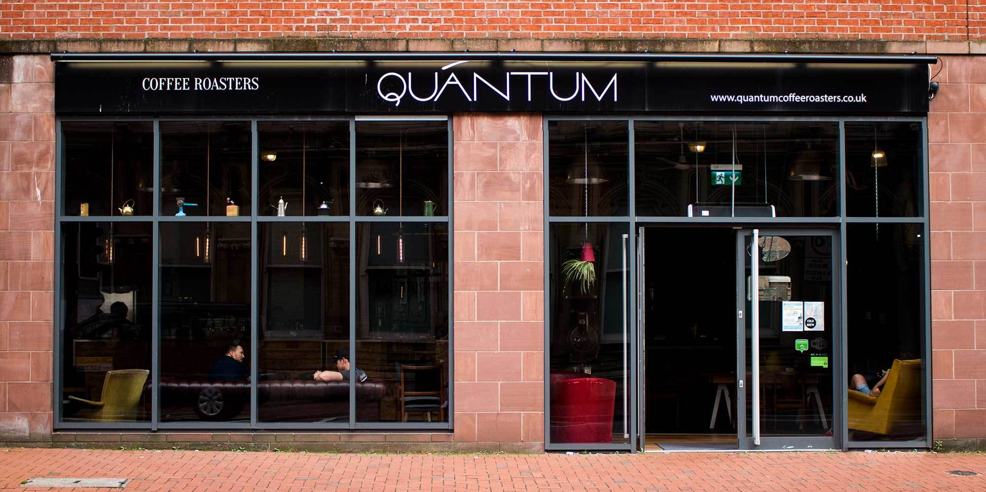 Old Quantum coffee roasters store front signage