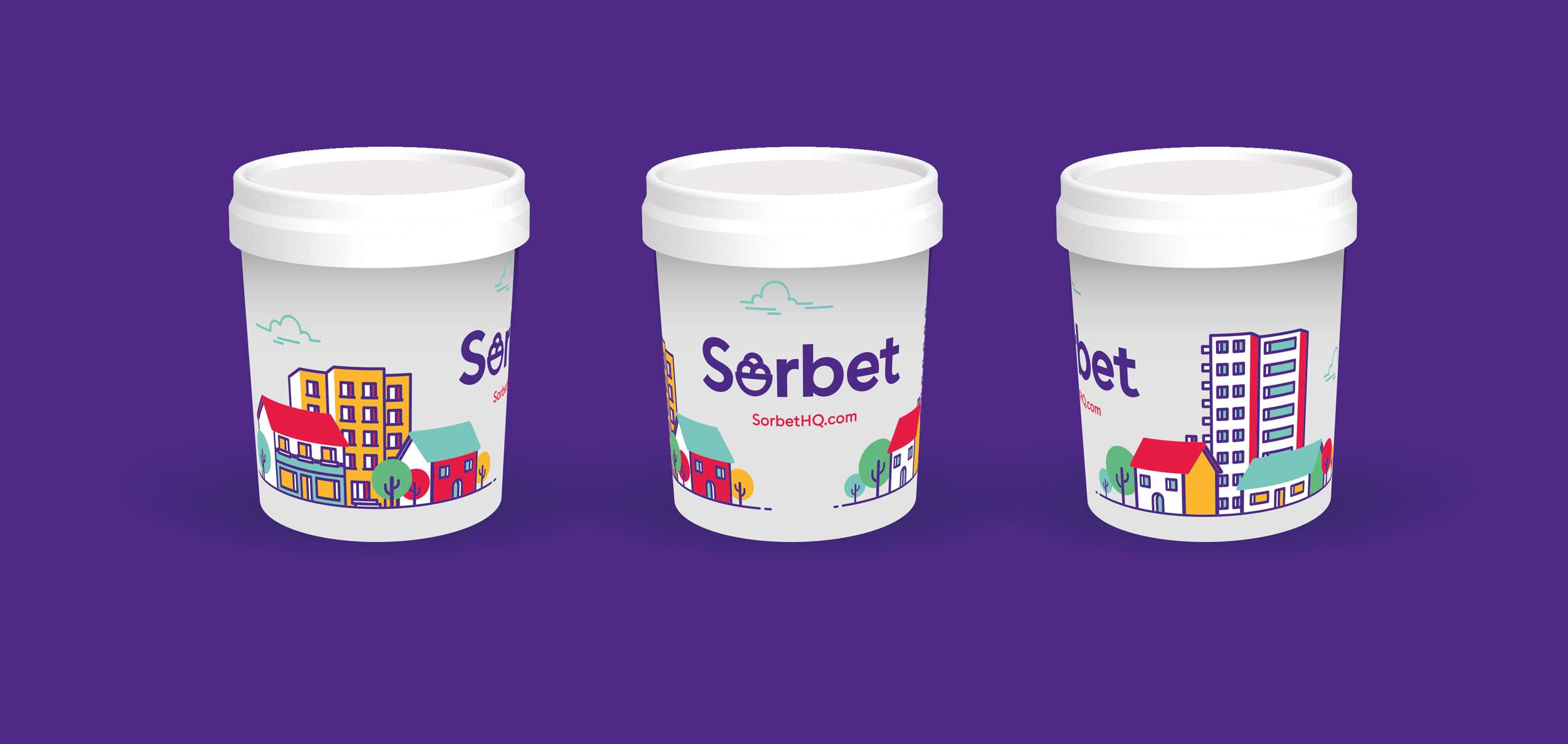 Mockup of promotional tubs of sorbet to launch the new brand